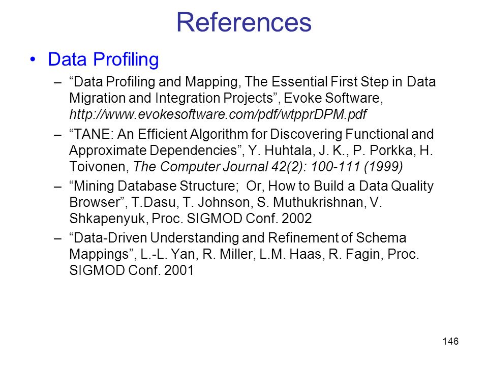 References Data Profiling