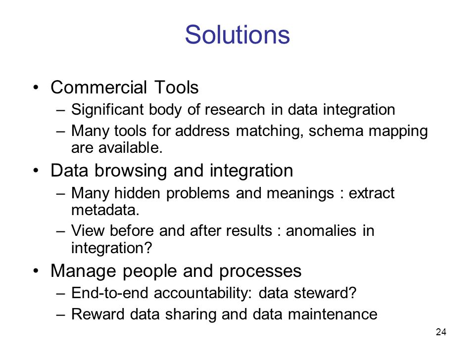 Solutions Commercial Tools Data browsing and integration