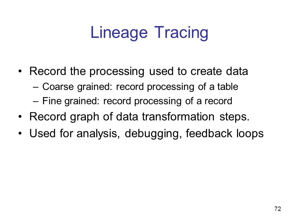 Lineage Tracing Record the processing used to create data