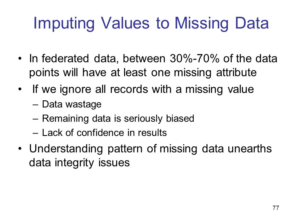 Imputing Values to Missing Data