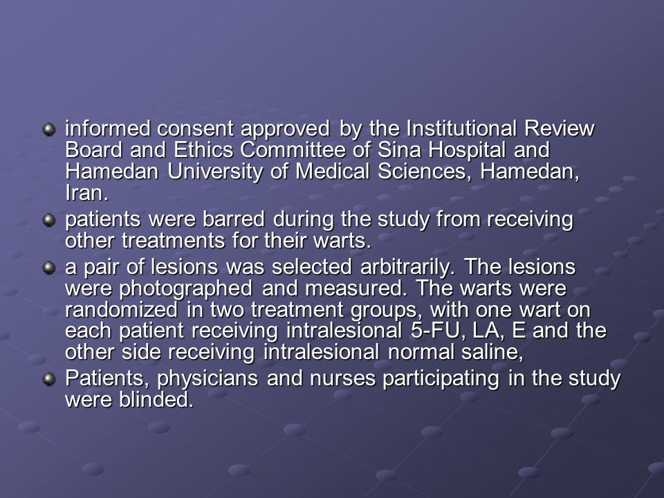 informed consent approved by the Institutional Review Board and Ethics Committee of Sina Hospital and Hamedan University of Medical Sciences, Hamedan, Iran.