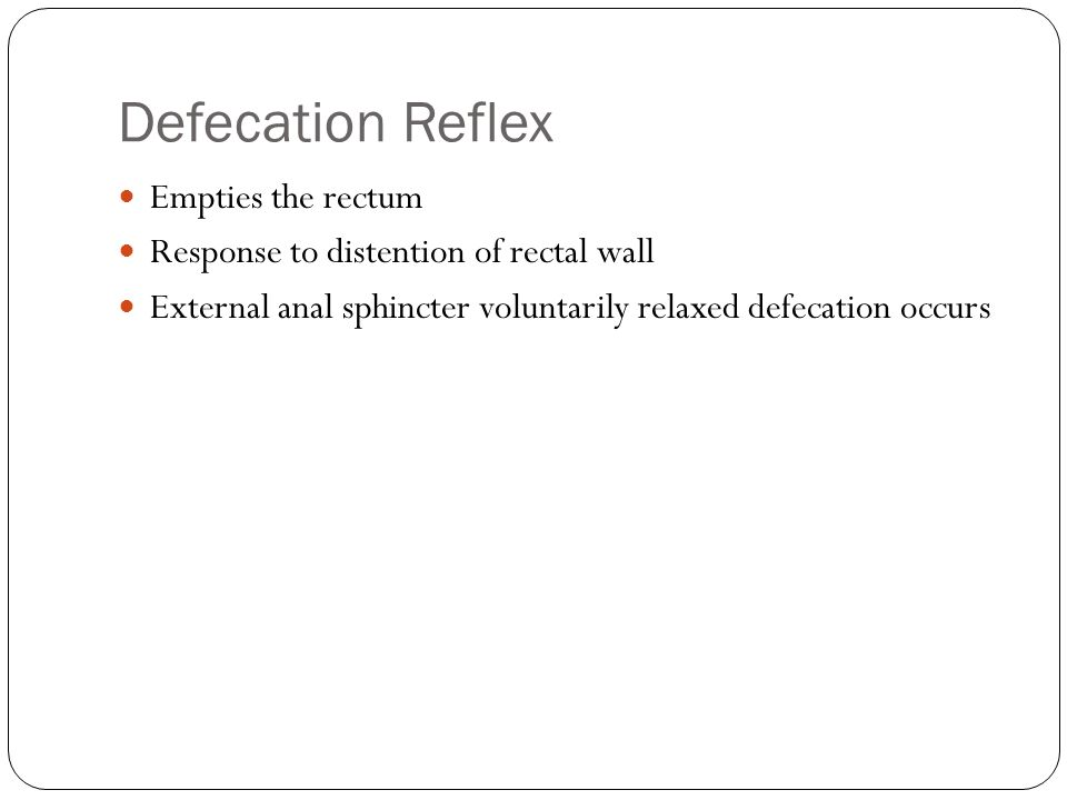 Defecation Reflex Empties the rectum