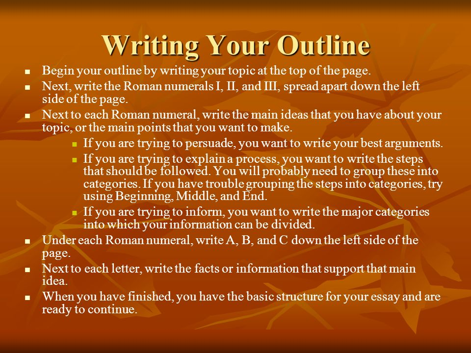 Writing Your Outline Begin your outline by writing your topic at the top of the page.