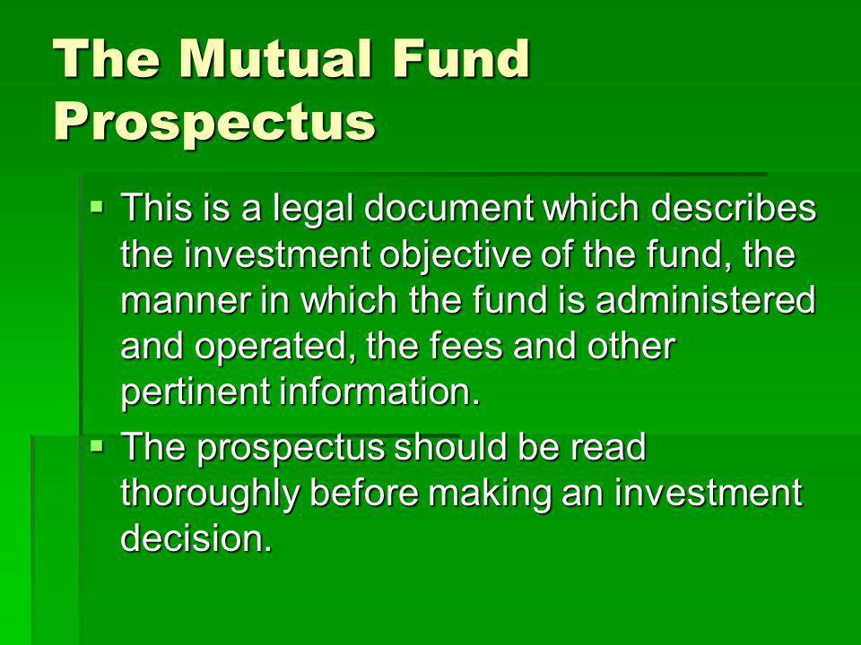 The Mutual Fund Prospectus