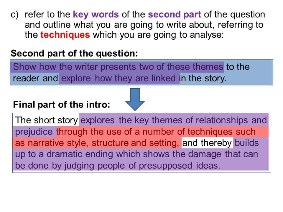 refer to the key words of the second part of the question and outline what you are going to write about, referring to the techniques which you are going to analyse: