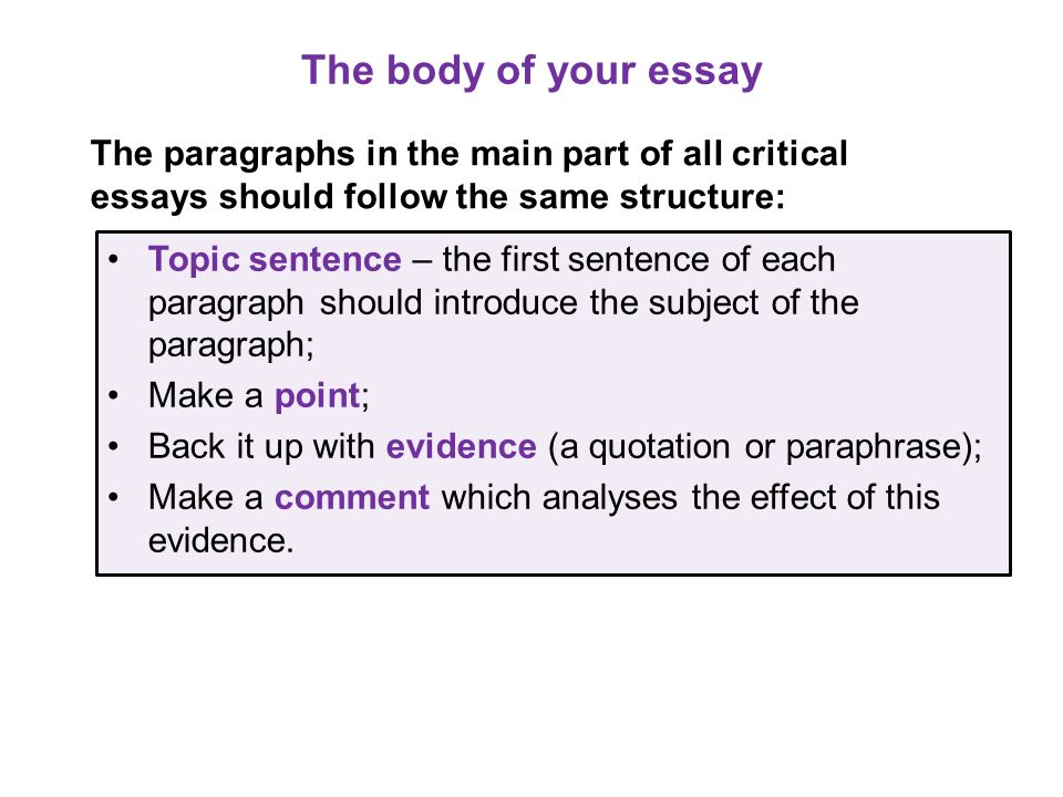 The body of your essay The paragraphs in the main part of all critical essays should follow the same structure: