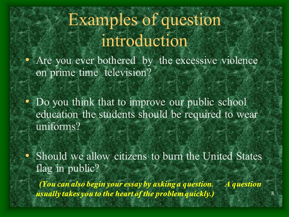 Examples of question introduction