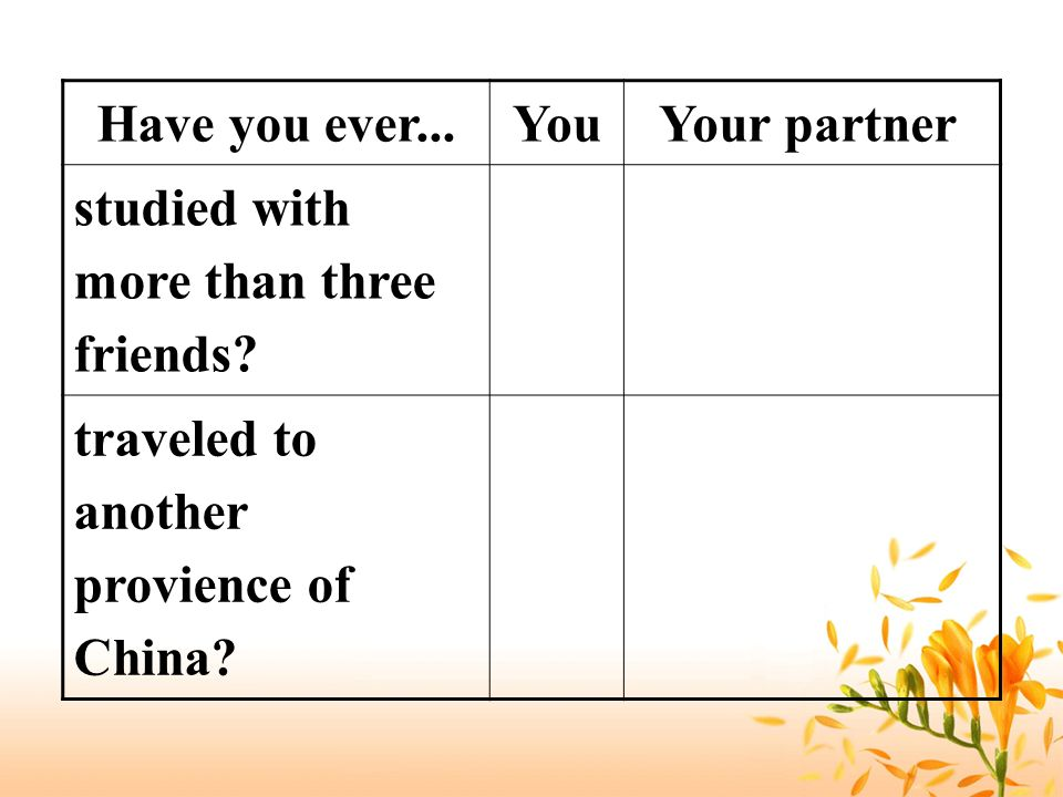 Have you ever... You. Your partner. studied with more than three friends.
