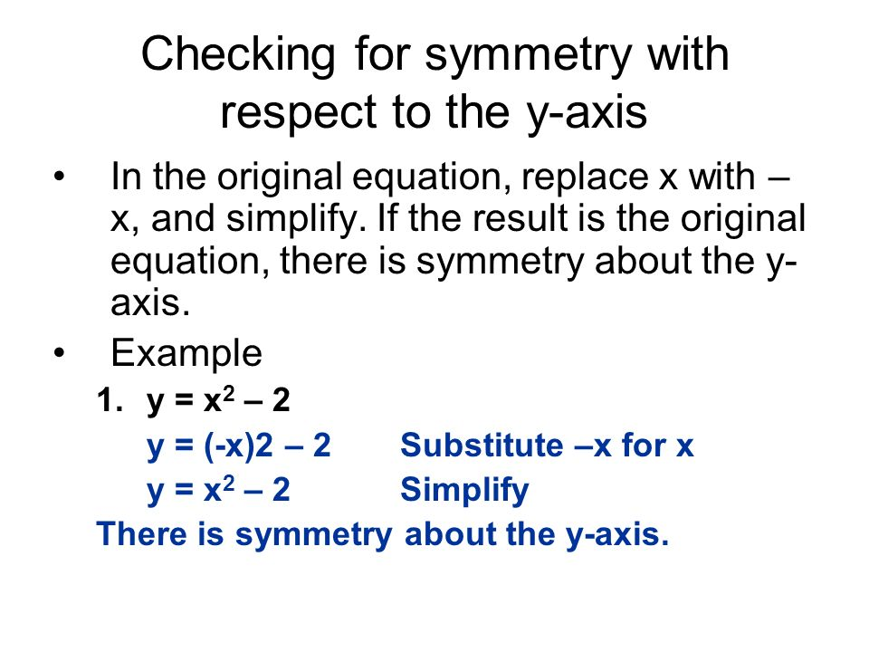 Checking for symmetry with respect to the y-axis