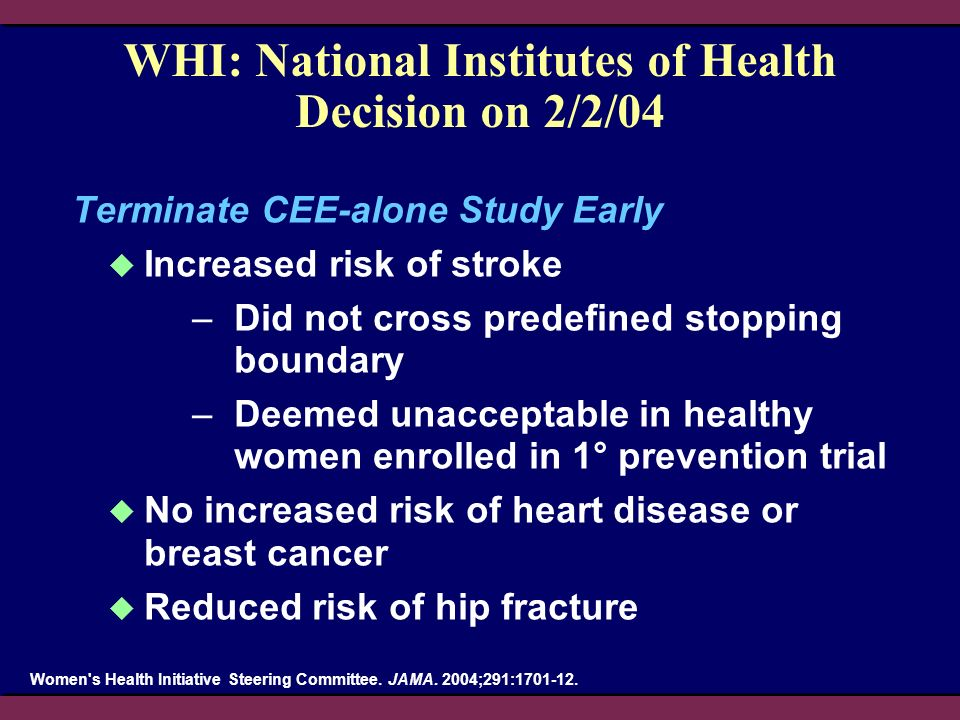 WHI: National Institutes of Health Decision on 2/2/04