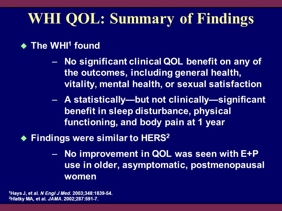 WHI QOL: Summary of Findings