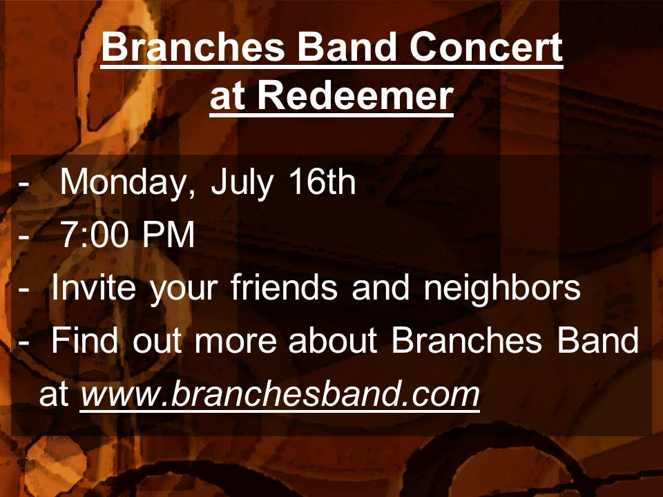 Branches Band Concert at Redeemer