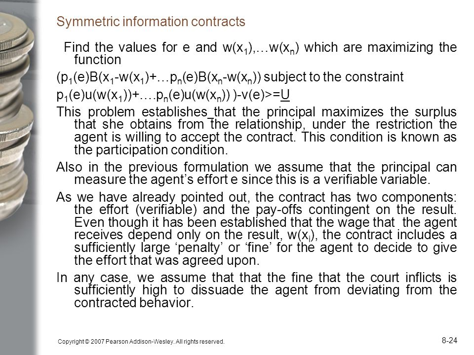 Symmetric information contracts
