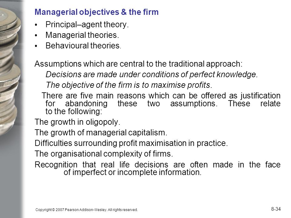 Managerial objectives & the firm