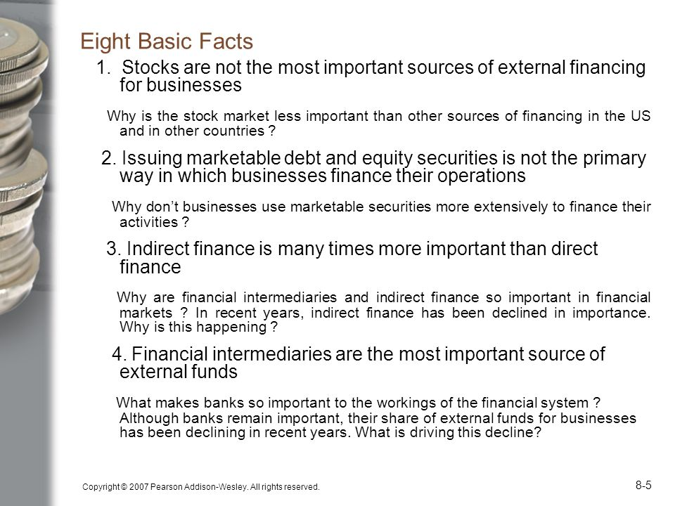 Eight Basic Facts 1. Stocks are not the most important sources of external financing for businesses.