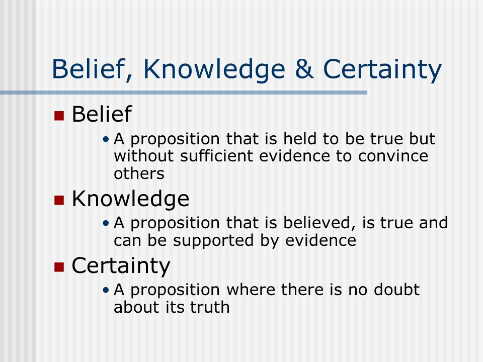 Belief, Knowledge & Certainty