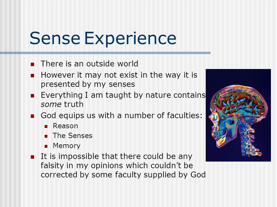 Sense Experience There is an outside world
