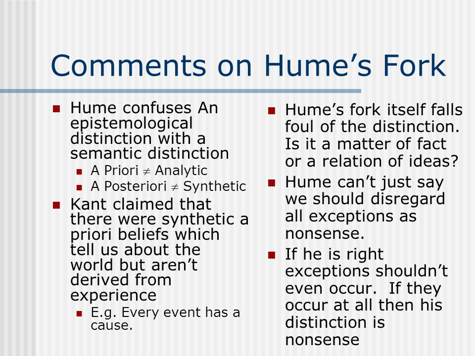 Comments on Hume's Fork