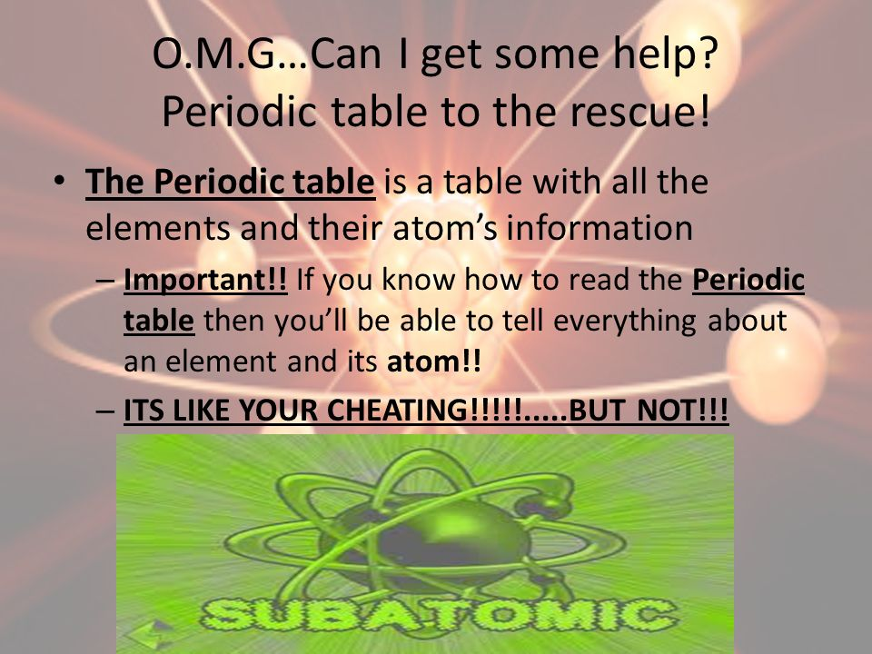 O.M.G…Can I get some help Periodic table to the rescue!
