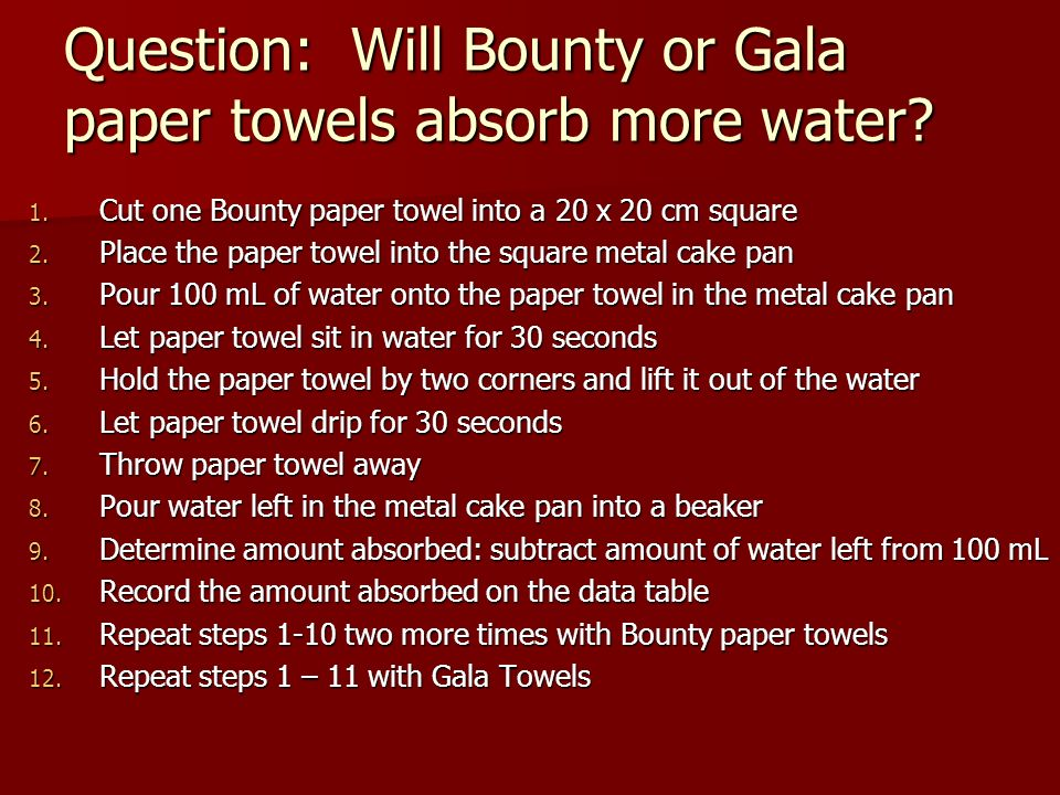 Question: Will Bounty or Gala paper towels absorb more water