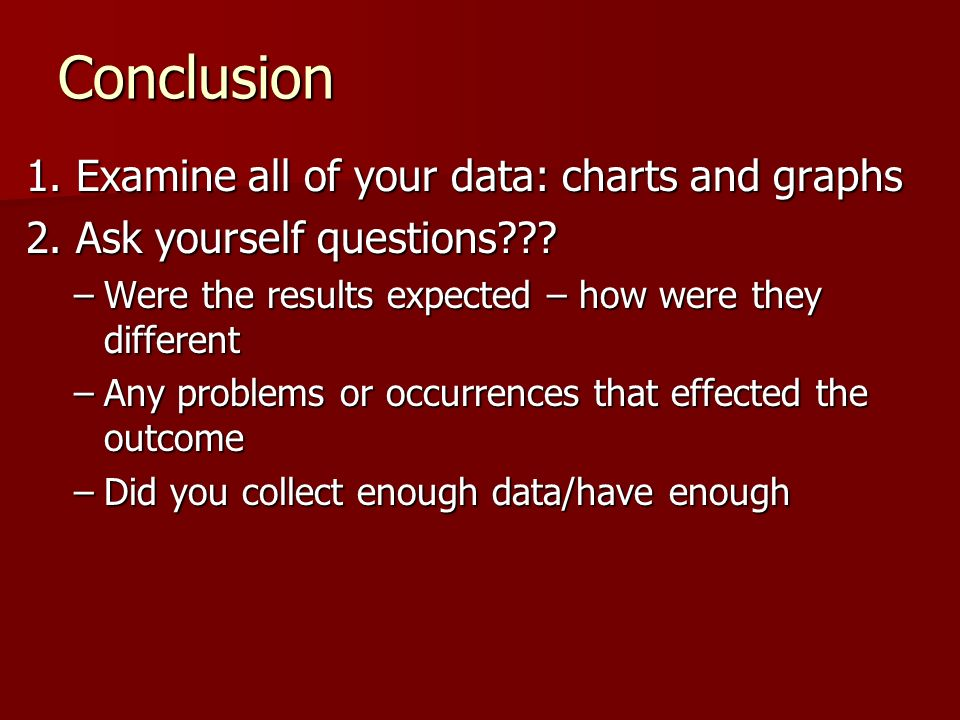 Conclusion 1. Examine all of your data: charts and graphs
