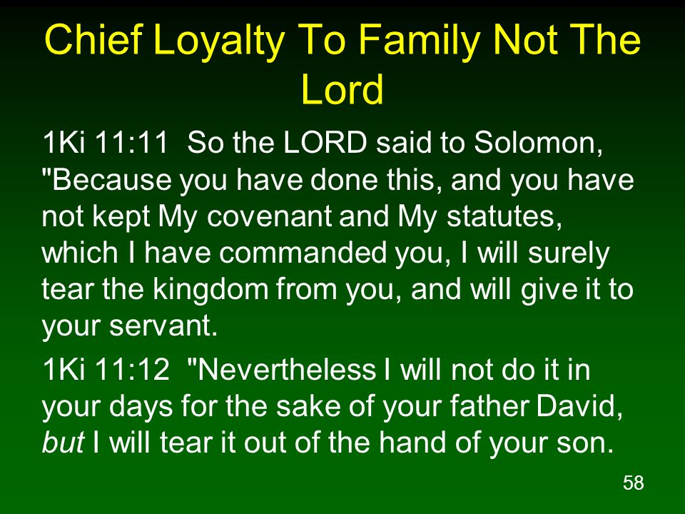 Chief Loyalty To Family Not The Lord