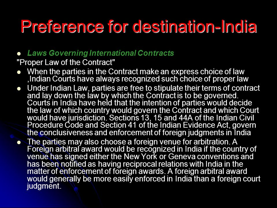 Preference for destination-India