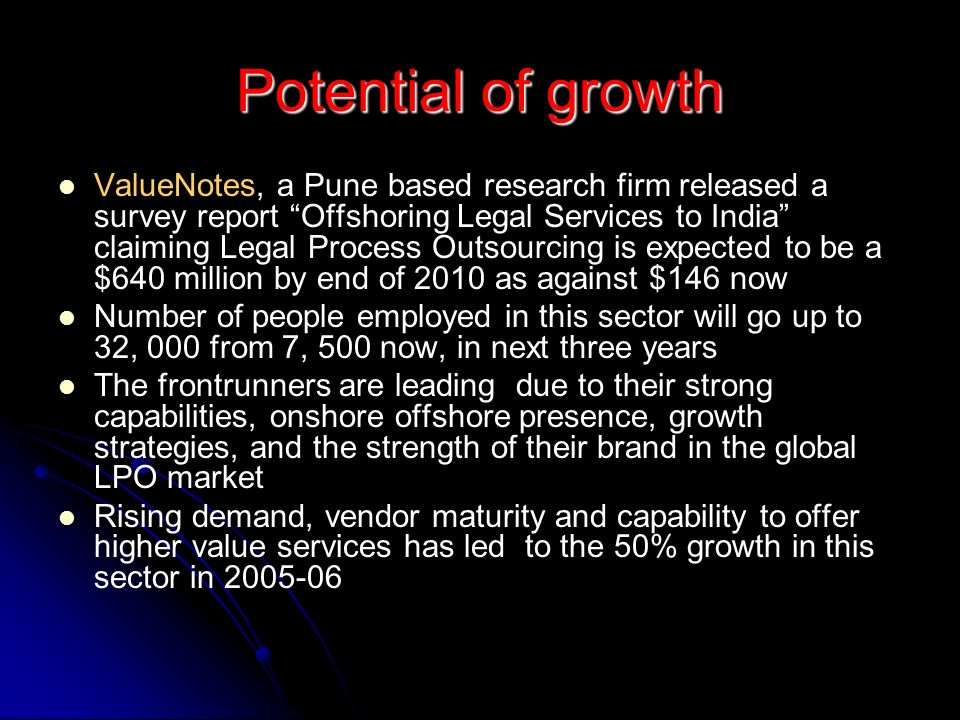 Potential of growth