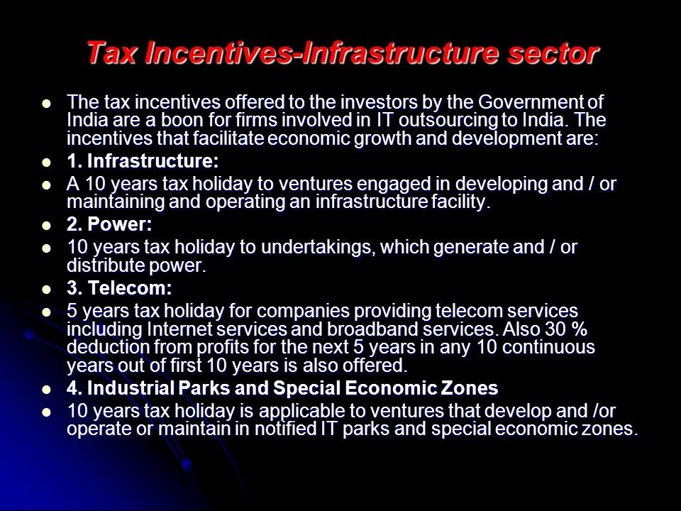 Tax Incentives-Infrastructure sector