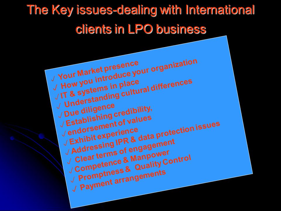 The Key issues-dealing with International clients in LPO business