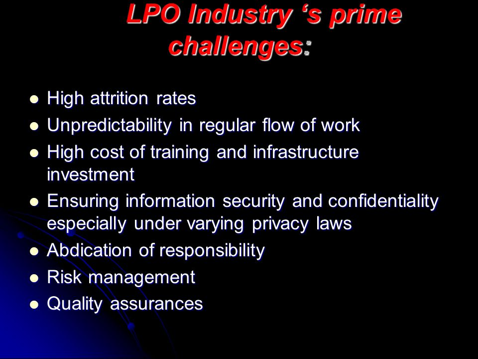 LPO Industry 's prime challenges: