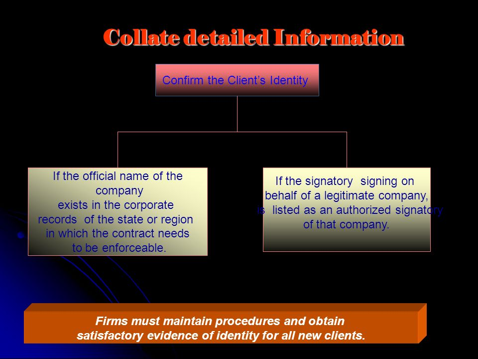 Collate detailed Information