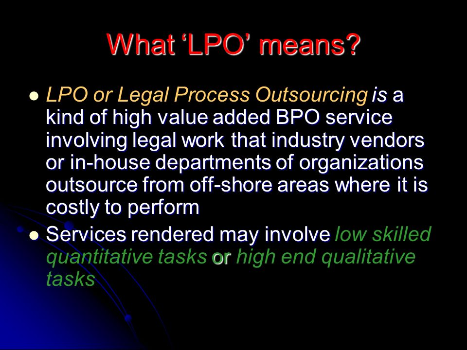 What 'LPO' means