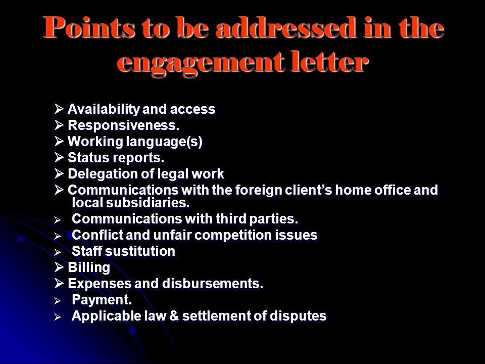 Points to be addressed in the engagement letter