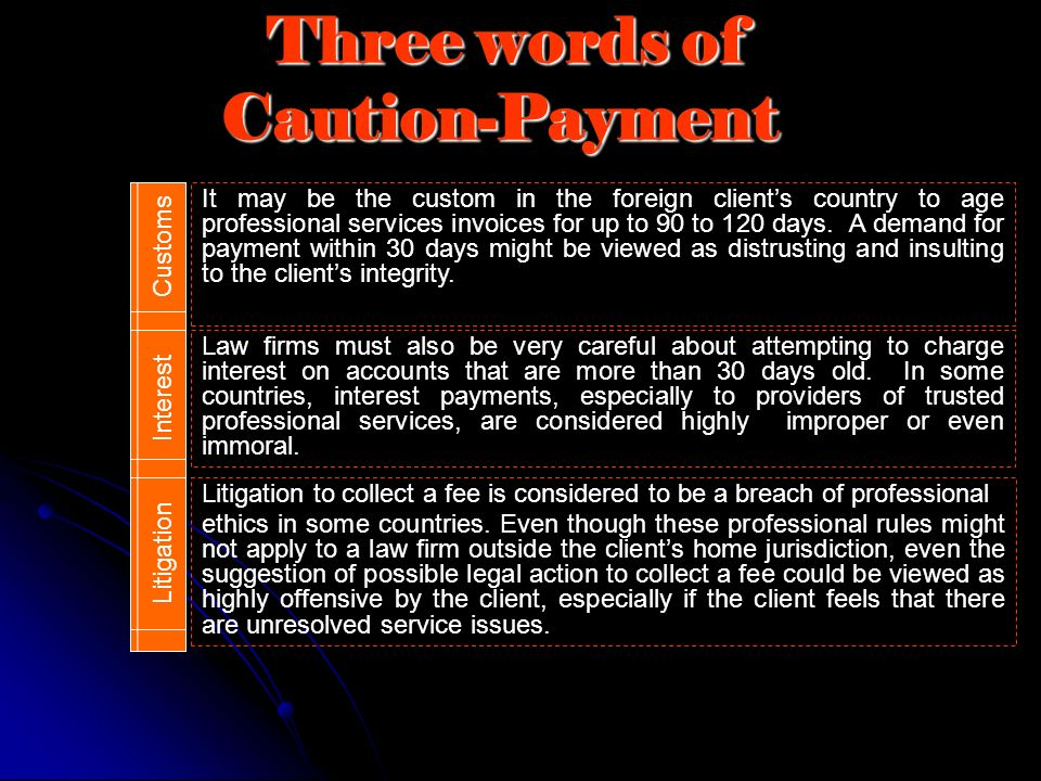 Three words of Caution-Payment