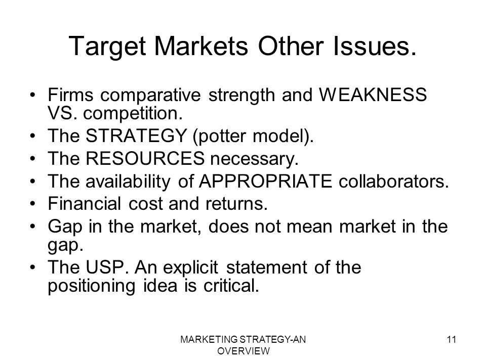 Target Markets Other Issues.