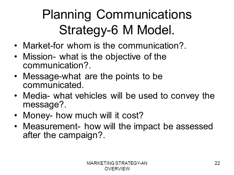 Planning Communications Strategy-6 M Model.