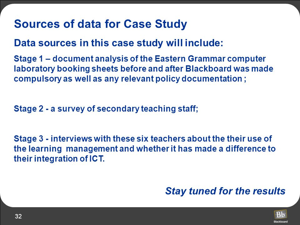 Sources of data for Case Study