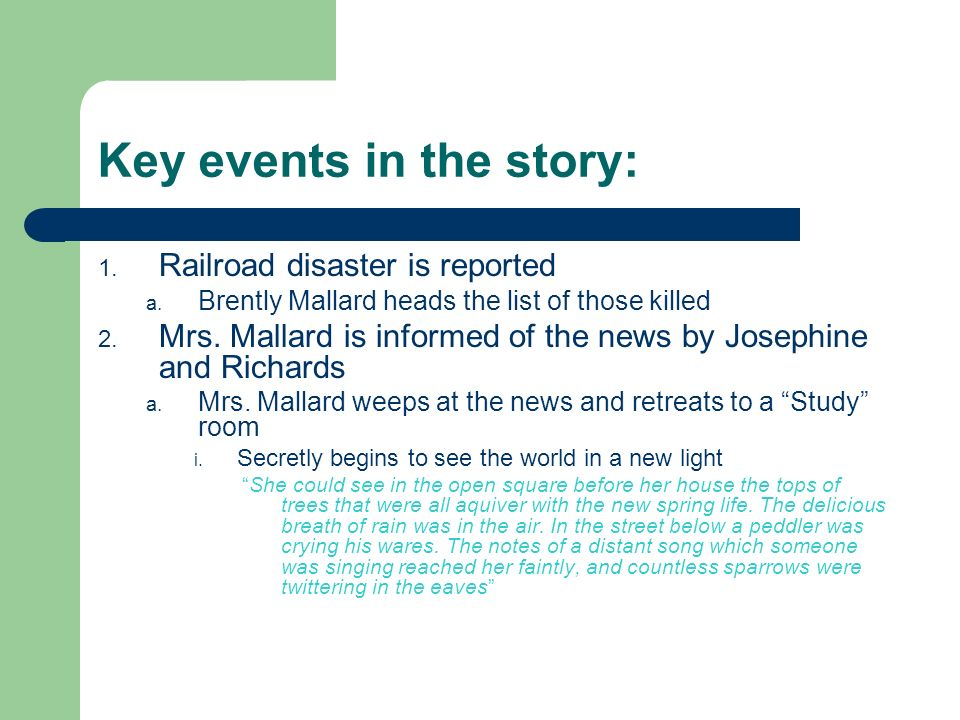 Key events in the story: