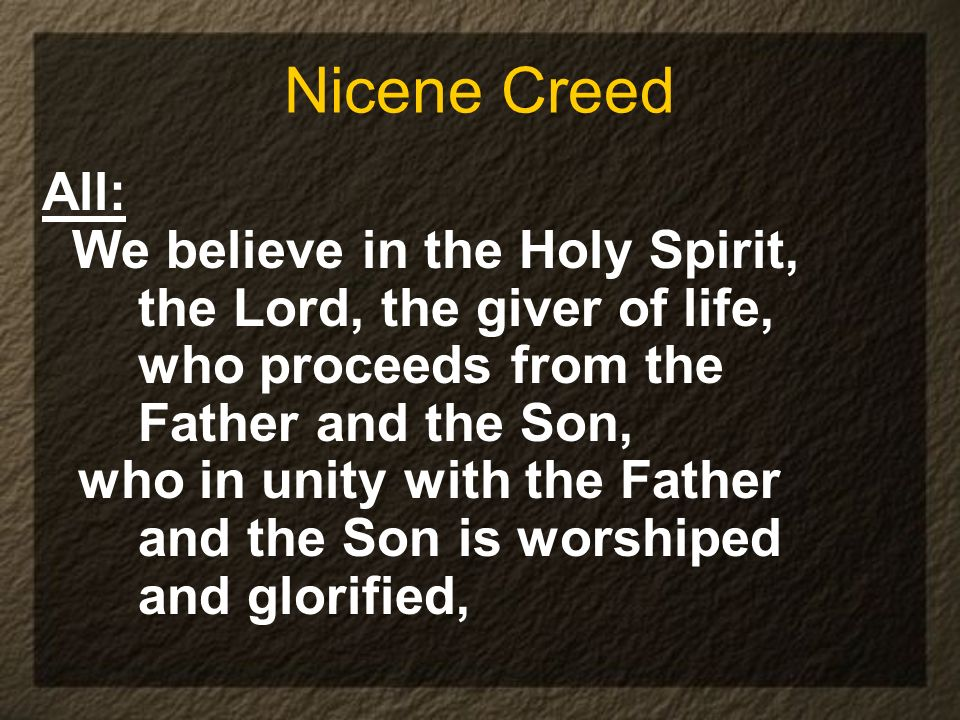 Nicene Creed All: We believe in the Holy Spirit,