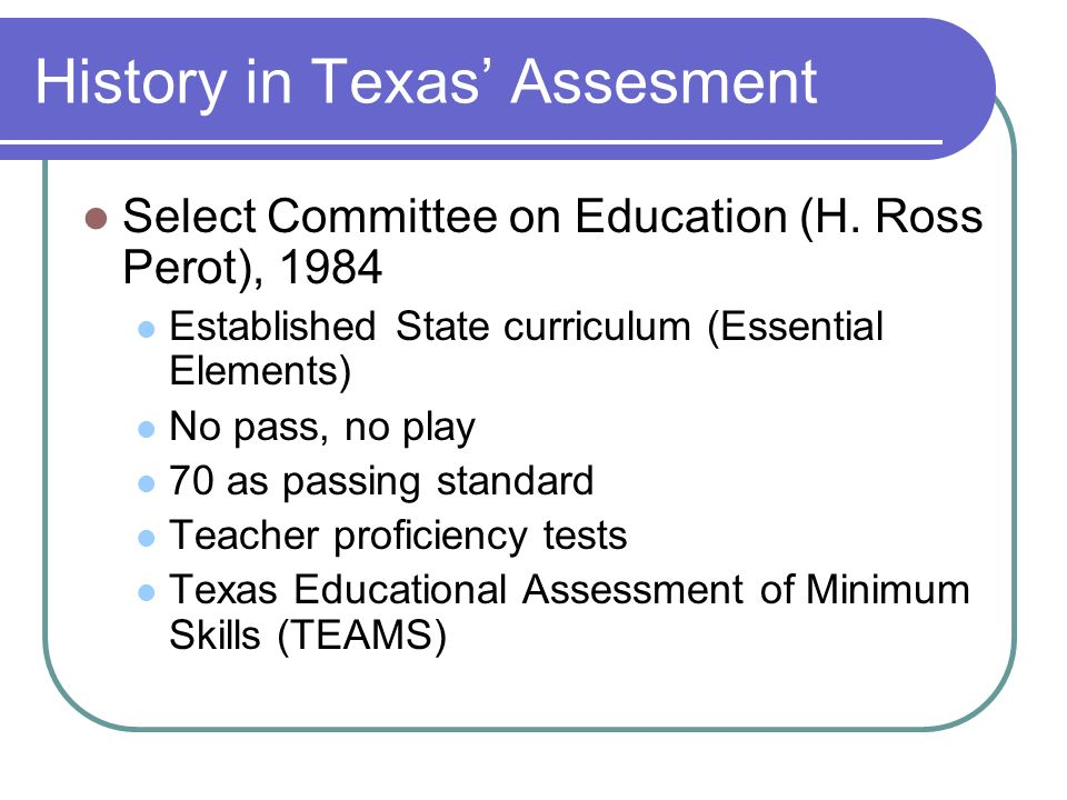 History in Texas' Assesment