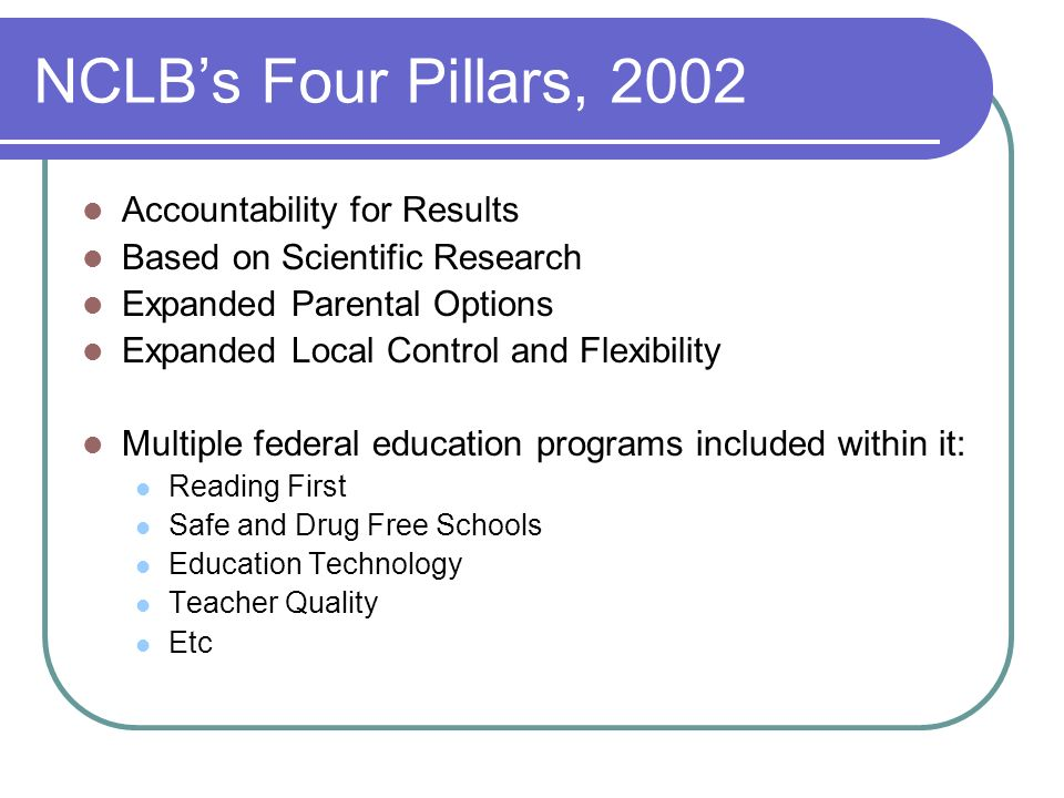 NCLB's Four Pillars, 2002 Accountability for Results