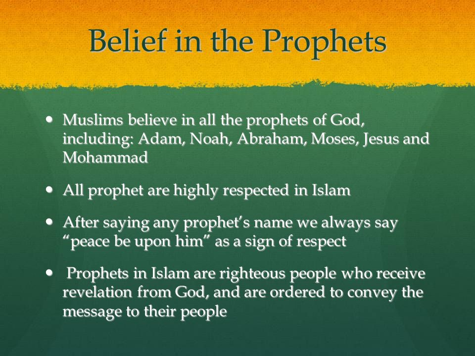 Belief in the Prophets Muslims believe in all the prophets of God, including: Adam, Noah, Abraham, Moses, Jesus and Mohammad.
