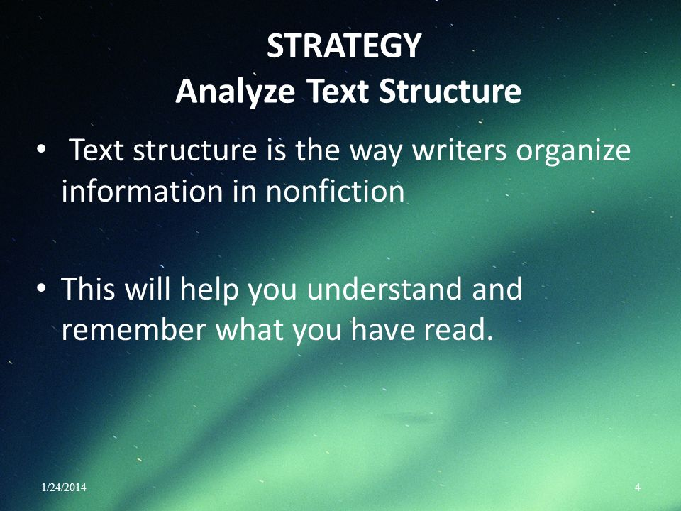 STRATEGY Analyze Text Structure