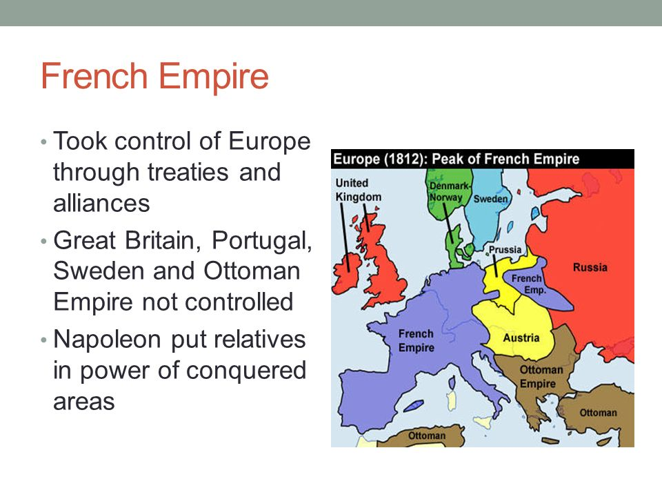 French Empire Took control of Europe through treaties and alliances