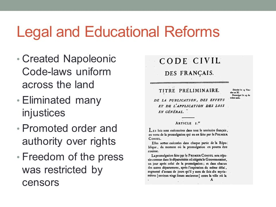 Legal and Educational Reforms