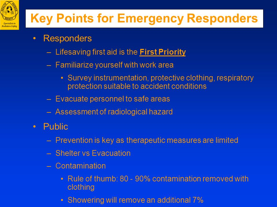 Key Points for Emergency Responders