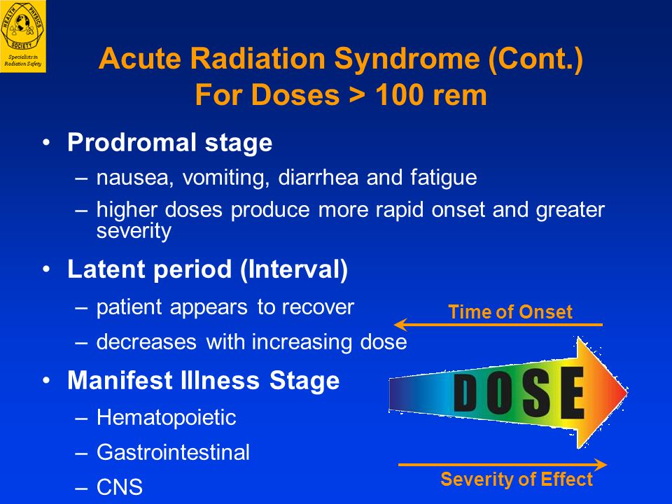 Acute Radiation Syndrome (Cont.) For Doses > 100 rem