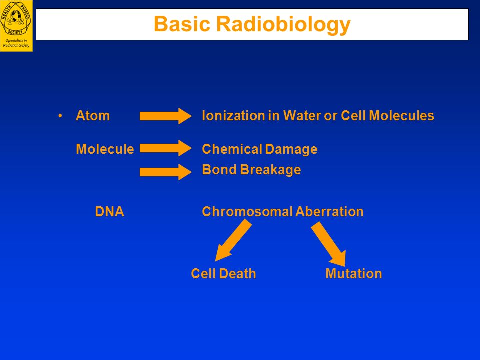 Basic Radiobiology Atom Ionization in Water or Cell Molecules