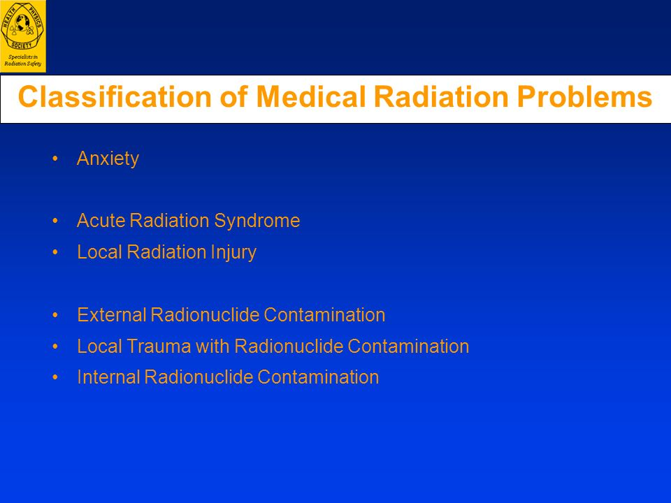 Classification of Medical Radiation Problems